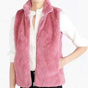 J Crew Faux Fur Vest Pink Size Small